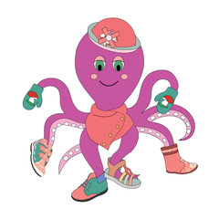 vector illustration of an octopus trying on clothes and shoes