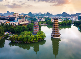 Zelfklevend Fotobehang Guilin Aerial view of Guilin park with twin pagodas in China