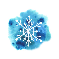 Watercolor snowflakes on a snowy blue background.