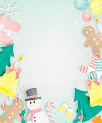 Various christmas items in paper art with pastel color scheme