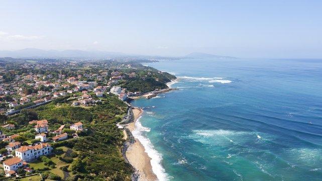 Scenic atlantic coastline in sunny blue sky in bidart, basque country, france