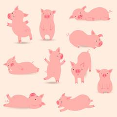 Pigs icon set. Eps 10.
