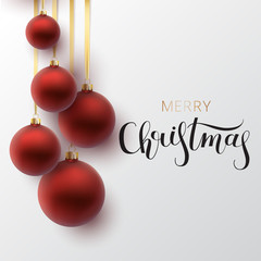 Christmas greeting card. Red Christmas ball, with an ornament an