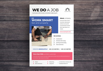 Business Flyer Layout with Red and Blue Accents