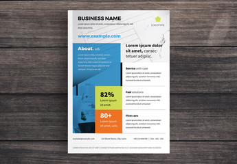 Business Flyer Layout with Blue Banner