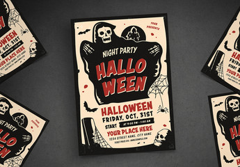 Halloween Party Flyer Layout with Grim Reaper Illustration