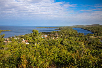 Copper Harbor Michigan. View from Brockway Mountain Scenic Drive of the Copper Harbor in the Upper Peninsula. Located on the shore of Lake Superior,  it is the northern most city in Michigan