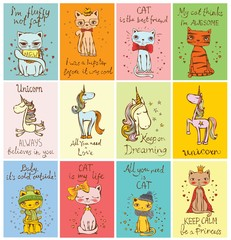 Set of 12 Vector cards with cute cats and magic unicorns and hand drawn funny texts.
