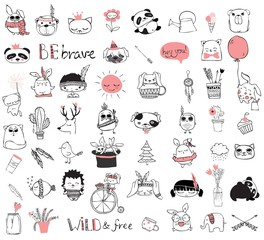 Spring doodle collection. Simple design of cute animals, birds, flowers and other design elements perfect for kid's card, banners, stickers and other kid's things.