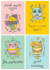 Set of 4 Vector cards with cute hipster and tribal owls and funny hand drawn text