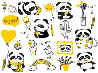 Panda doodle kid set. Simple design of cute pandas and other individual elements perfect for kid's card, banners, stickers and other kid's things.