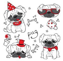Vector illustration of 4 cute hand drawn pug