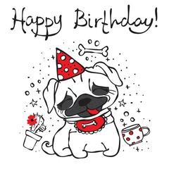 Happy birthday card with cute hand drawn pug