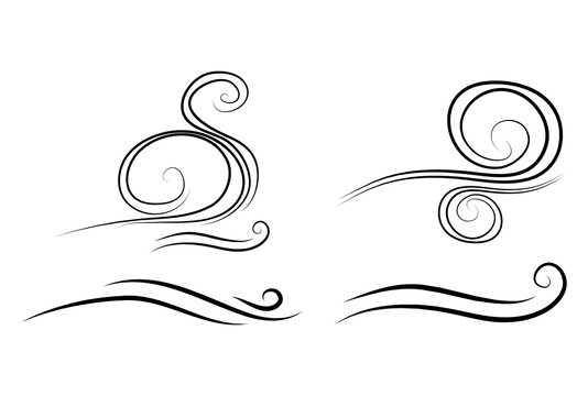 wind doodle blow, gust design isolated on white background