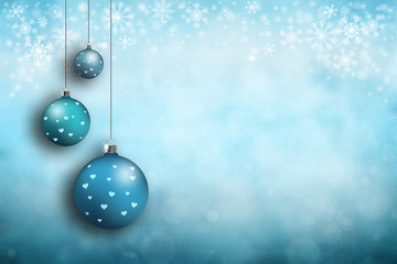 Beautiful cyan blue colored blurred New year and Christmas copy space background with hanging bulbs.