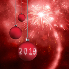 New Year 2019 illustration background with fireworks and hanging bulbs.