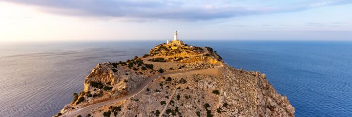 Mallorca Leuchtturm Kap Cap Formentor Panorama Landschaft Abend Natur Meer Reise Reisen Spanien Fototapete