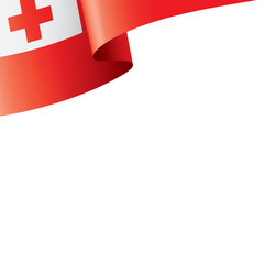 Tonga flag, vector illustration on a white background.