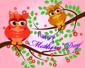 Mother's day owl. Cute illustration of happy mother and kid owl sitting on tree branch