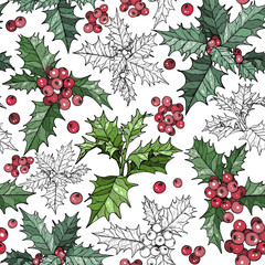 Seamless pattern with traditional Christmas flowers poinsettia plants