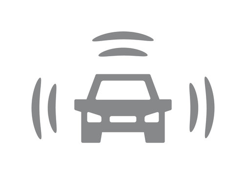 Vector smart car icon. Intelligent vehicle, automobile with wifi symbol and sign illustration on white background.
