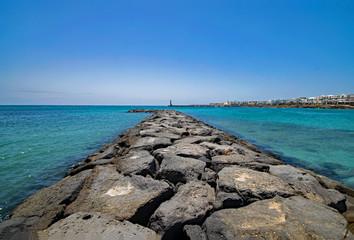 Fototapeta Playa de las Cucharas, Lanzarote, Kanarische Inseln, Spanien  obraz