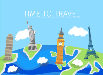 Travel to World. Road trip. Tourism. Vector illustration. Modern flat design