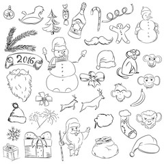 Set sketch things for christmas and new year. Vector santa claus