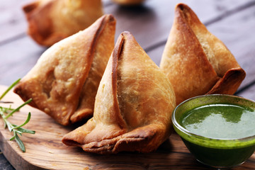 Vegetarian samsa or samosas.Indian special traditional street food punjabi samosa or Coxinha, Croquete and other Fried Brazilian Snacks