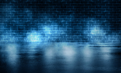 Background of empty room with brick wall and concrete floor. Smoke, fog, neon light