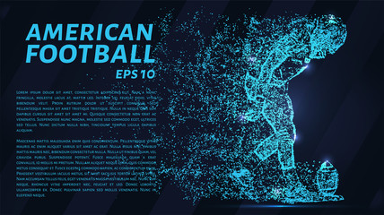 American football made up of particles.Football player sets the ball to hit