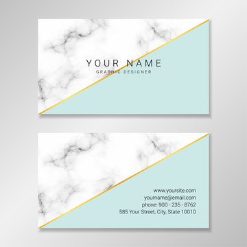 Vector modern customizable business card. Easy to customize with your own text. Business card design with marble and pale mint geometric shapes and faux gold foil diagonal stripe.