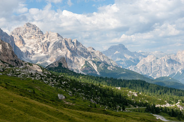 Impression of the Passo di Giau, in landscape orientation, on a summer afternoon.