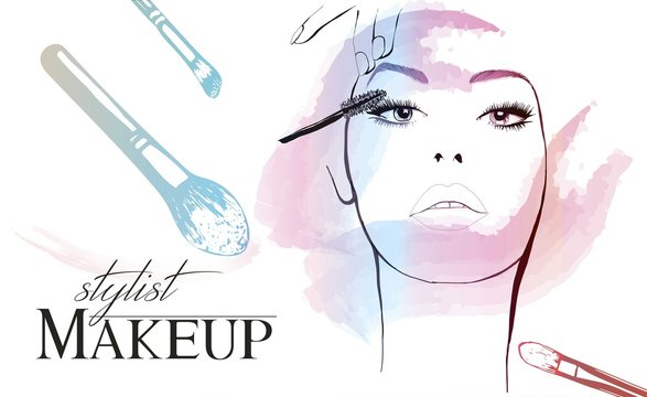 Beautiful woman paints the eyelashes and uses beauty products for makeup.Beauty and fashion industry advertising banner vector illustration