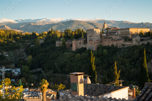 Panoramic View onto Alhambra and Snowcapped Sierra Nevada from Old