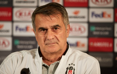 Besiktas coach Senol Gunes attends a press conference at Malmo Stadion, in Malmo