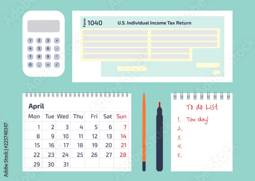 a calculator a pen a calendar and 1040 income tax form for irs