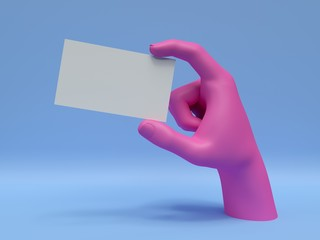 3d render, pink hand holding blank card, isolated on blue, abstract fashion background, shop...