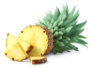 Half and sliced pineapple fruit