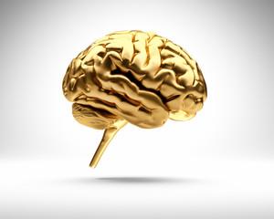 Goldenes Gehirn vor Weiß