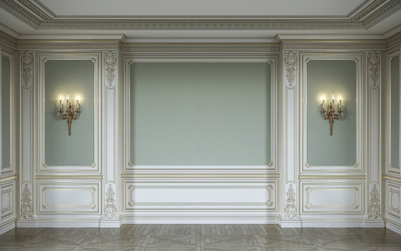 lassic interior in olive colors with wooden wall panels, sconces and niche. 3d rendering.
