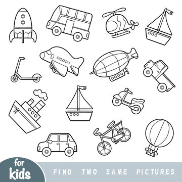 Find two the same pictures, education game. Set of transport objects