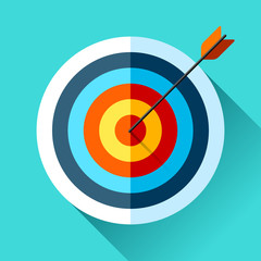 Volume Target icon in flat style on color background. Arrow in the center aim. Vector design element for you business projects