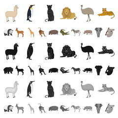 Different animals cartoon icons in set collection for design. Bird, predator and herbivore vector symbol stock web illustration.