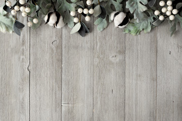 Top border of silver green leaves and white berries over a rustic gray wood background. Top view with copy space. Wall mural