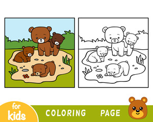 Coloring book, Four bears