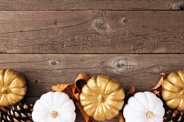 Autumn bottom border of golden and white pumpkins on a rustic wood background. Top view with copy space.
