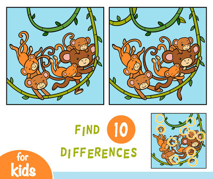 Find differences, game for children, Five monkeys