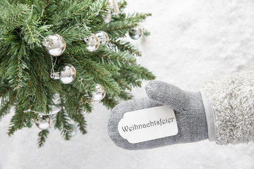 Christmas Tree, Glove, Weihnachtsfeier Means Christmas Party
