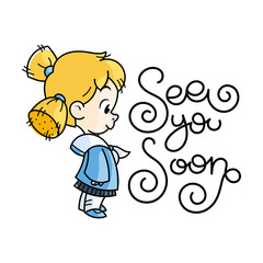 6497767 Cutest kid. Illustration isolated on white background. Design element for print, t-shirt, poster, card, banner.